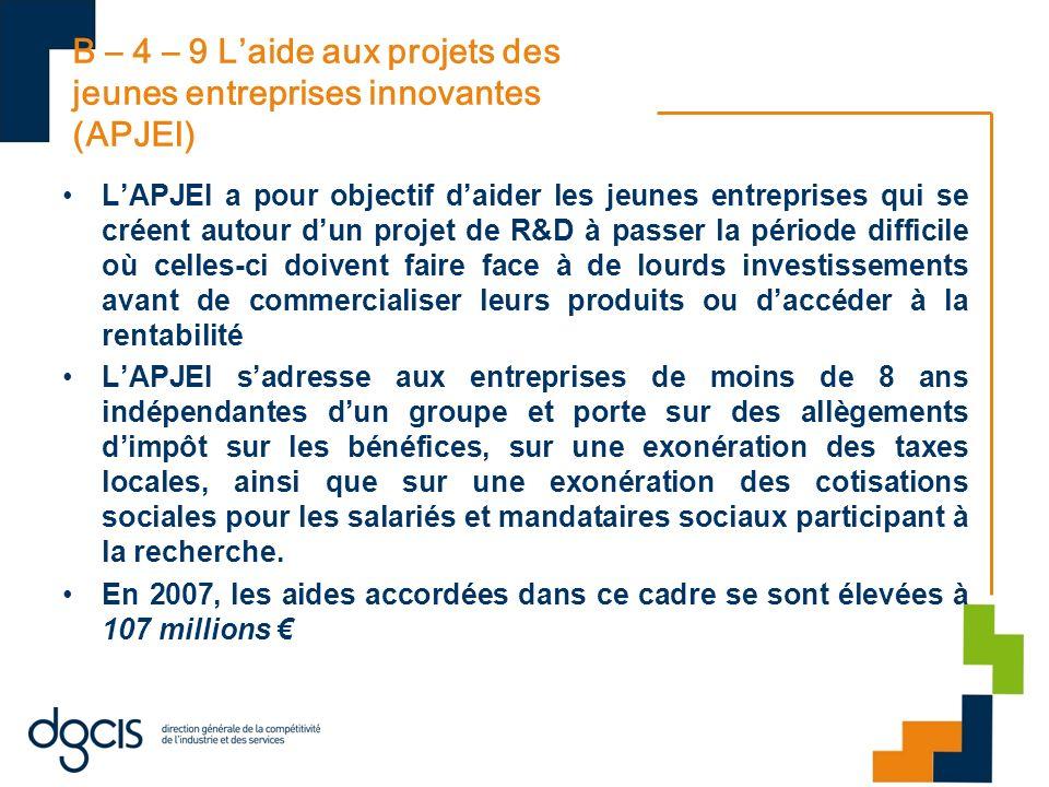 B – 4 – 9 Laide aux projets des jeunes entreprises innovantes (APJEI) LAPJEI a pour objectif daider les jeunes entreprises qui se créent autour dun pr