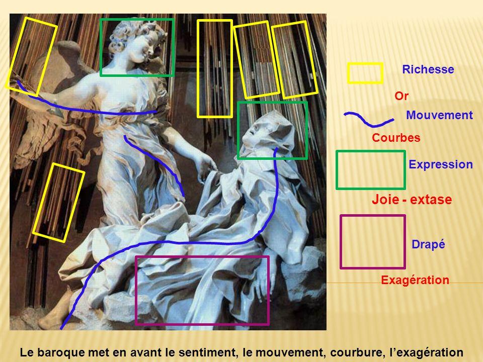 Extase de Sainte Thérèse par le Bernin. Rome Richesse Mouvement Expression Joie - extase Drapé Exagération Le baroque met en avant le sentiment, le mo