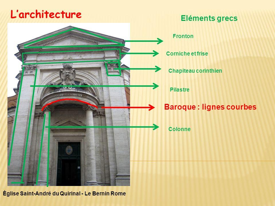 Larchitecture Église Saint-André du Quirinal - Le Bernin Rome Eléments grecs Baroque : lignes courbes Fronton Corniche et frise Chapiteau corinthien P