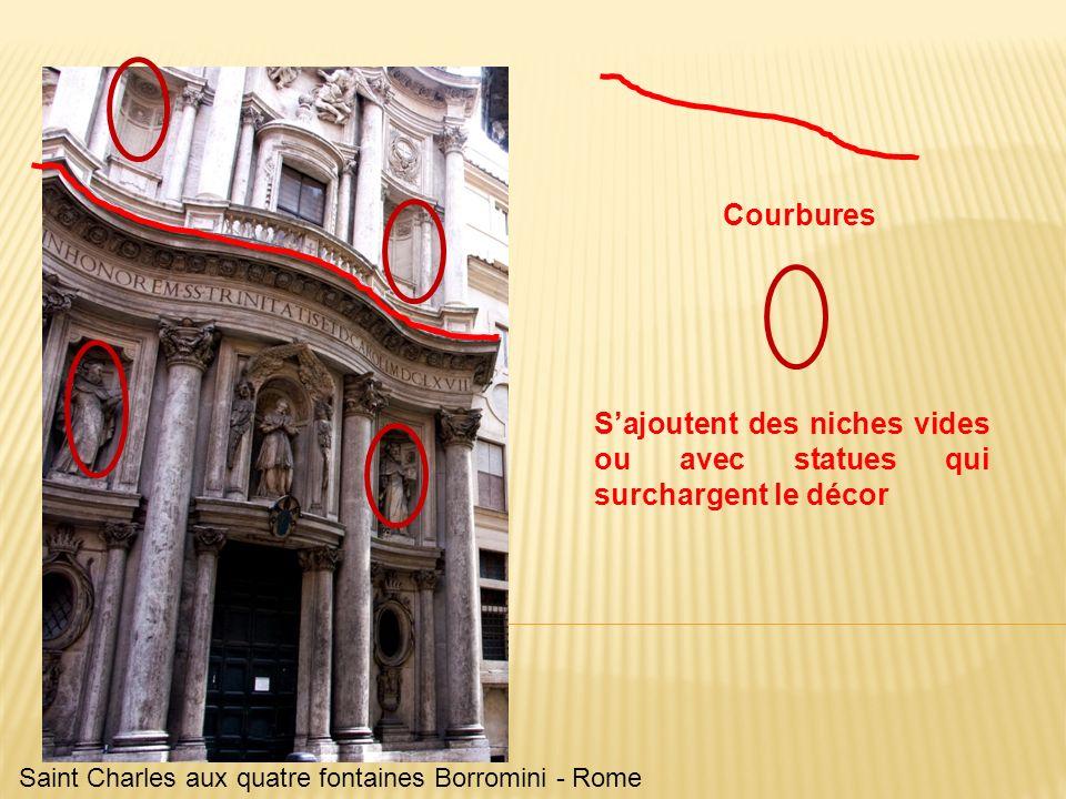 Saint Charles aux quatre fontaines Borromini - Rome Courbures Sajoutent des niches vides ou avec statues qui surchargent le décor