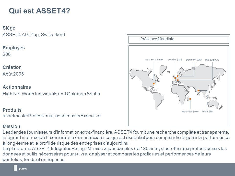 ASSET4 Qui est ASSET4? Siège ASSET4 AG, Zug, Switzerland Employés 200 Création Août 2003 Actionnaires High Net Worth Individuals and Goldman Sachs Pro