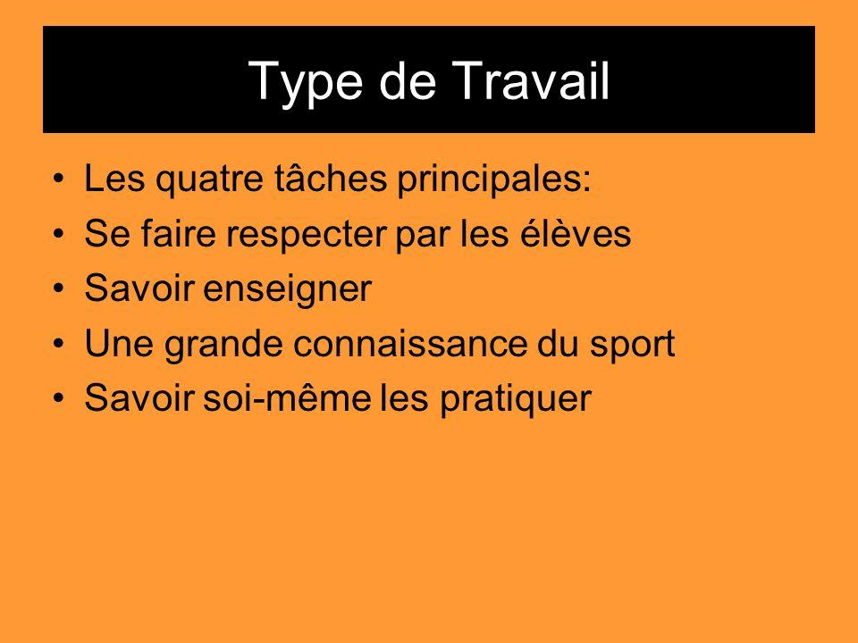 Type de Travail Les quatre tâches principales: Se faire respecter par les élèves Savoir enseigner Une grande connaissance du sport Savoir soi-même les
