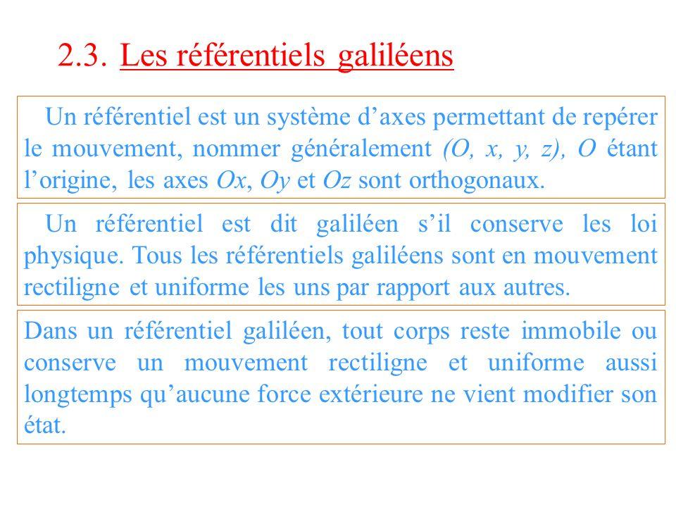 2.3. Les référentiels galiléens Un référentiel est un système daxes permettant de repérer le mouvement, nommer généralement (O, x, y, z), O étant lori