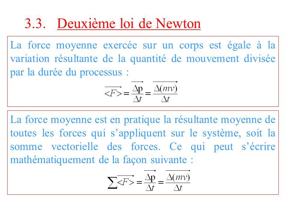 3.3. Deuxième loi de Newton La force moyenne exercée sur un corps est égale à la variation résultante de la quantité de mouvement divisée par la durée