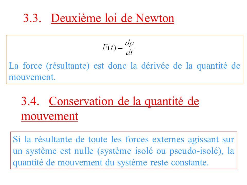 3.4. Conservation de la quantité de mouvement Si la résultante de toute les forces externes agissant sur un système est nulle (système isolé ou pseudo