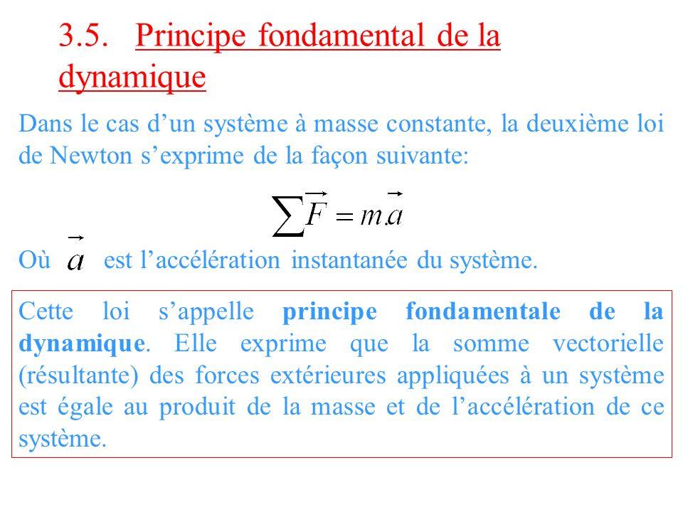 3.5. Principe fondamental de la dynamique Dans le cas dun système à masse constante, la deuxième loi de Newton sexprime de la façon suivante: Cette lo