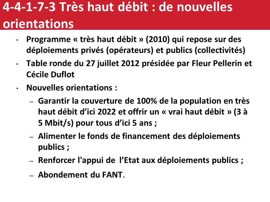 4-4-1-7-2 Très haut débit : accélérer le déploiement En France, 5,5 M foyers (sur 27 M) sont éligibles au très haut débit… …mais seulement 13% de ces
