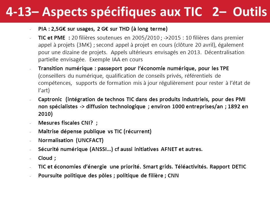 4-13 – Aspects spécifiques aux TIC 1– Etat des lieux - Les entreprises françaises désormais bien équipées en outils numériques de base ( ex 2009 : 92%