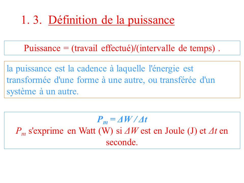 1. 3. Définition de la puissance Puissance = (travail effectué)/(intervalle de temps). la puissance est la cadence à laquelle l'énergie est transformé
