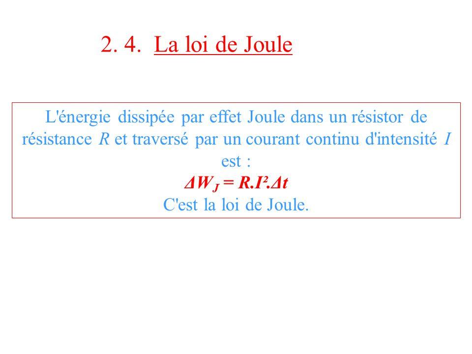 2. 4. La loi de Joule L'énergie dissipée par effet Joule dans un résistor de résistance R et traversé par un courant continu d'intensité I est : ΔW J