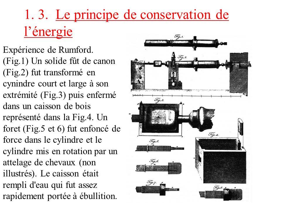 1. 3. Le principe de conservation de lénergie Expérience de Rumford. (Fig.1) Un solide fût de canon (Fig.2) fut transformé en cynindre court et large