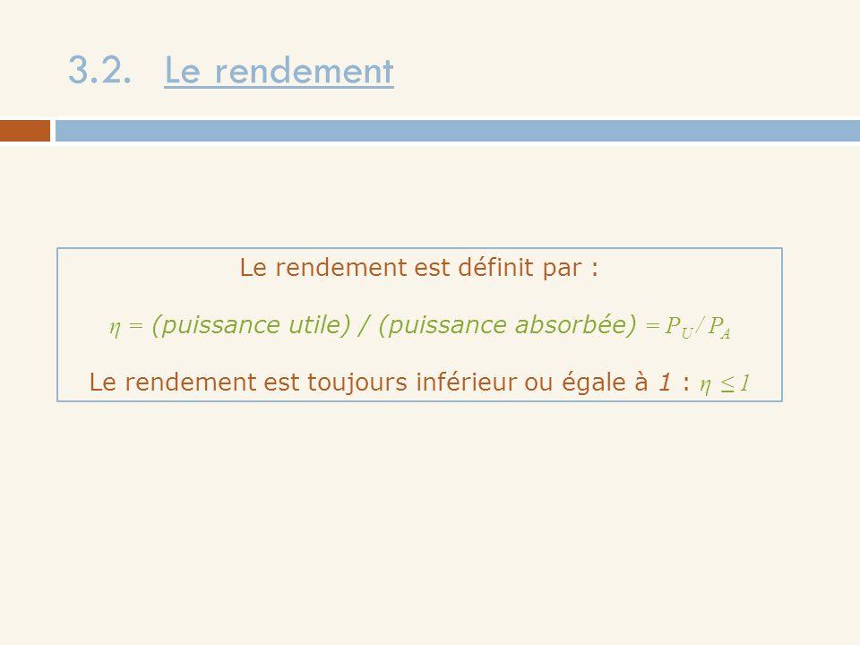 3.2. Le rendement Le rendement est définit par : η = (puissance utile) / (puissance absorbée) = P U / P A Le rendement est toujours inférieur ou égale