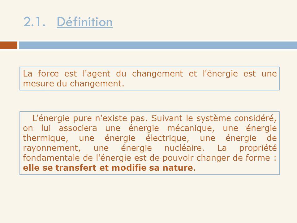2.1. Définition La force est l'agent du changement et l'énergie est une mesure du changement. L'énergie pure n'existe pas. Suivant le système considér