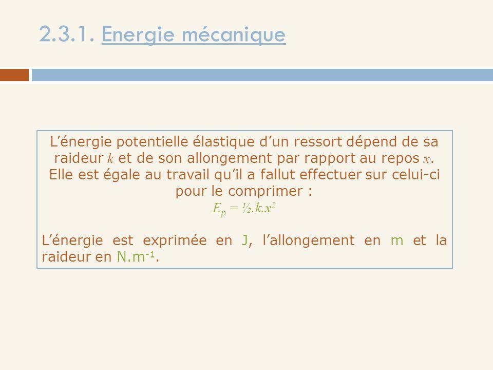 2.3.1. Energie mécanique Lénergie potentielle élastique dun ressort dépend de sa raideur k et de son allongement par rapport au repos x. Elle est égal