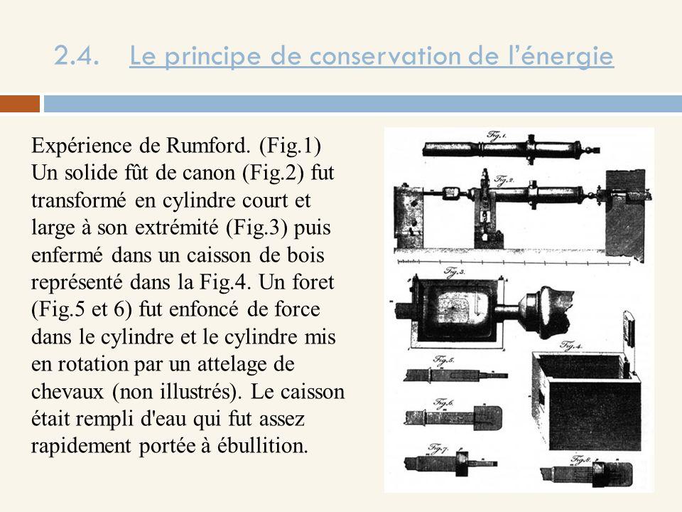2.4. Le principe de conservation de lénergie Expérience de Rumford. (Fig.1) Un solide fût de canon (Fig.2) fut transformé en cylindre court et large à