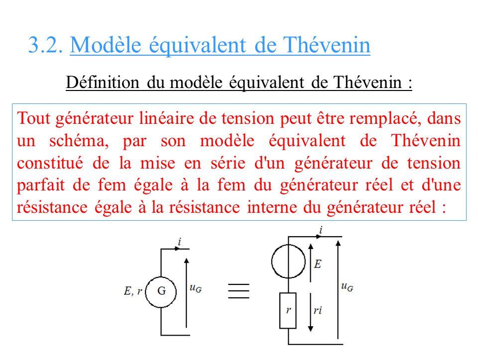 Définition du modèle équivalent de Thévenin : Tout générateur linéaire de tension peut être remplacé, dans un schéma, par son modèle équivalent de Thé