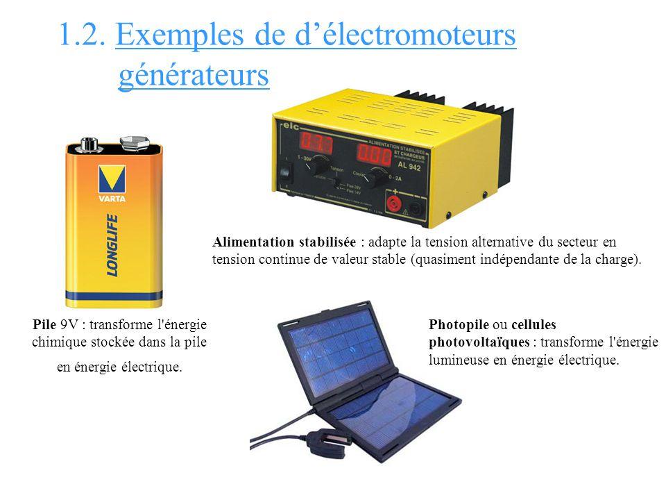 1.2. Exemples de délectromoteurs générateurs Pile 9V : transforme l'énergie chimique stockée dans la pile en énergie électrique. Alimentation stabilis