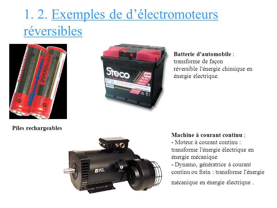 1. 2. Exemples de délectromoteurs réversibles Piles rechargeables Batterie d'automobile : transforme de façon réversible l'énergie chimique en énergie