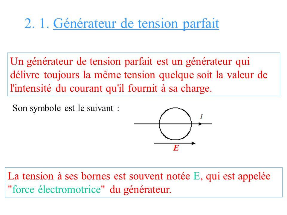 2. 1. Générateur de tension parfait Un générateur de tension parfait est un générateur qui délivre toujours la même tension quelque soit la valeur de