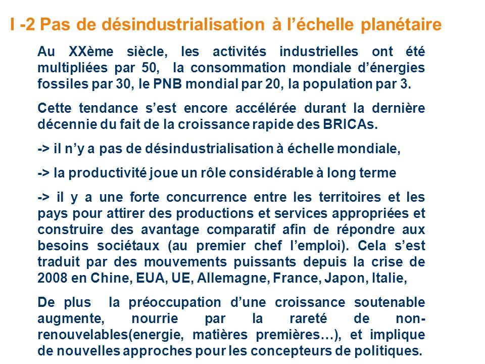 I -2 Pas de désindustrialisation à léchelle planétaire Au XXème siècle, les activités industrielles ont été multipliées par 50, la consommation mondia