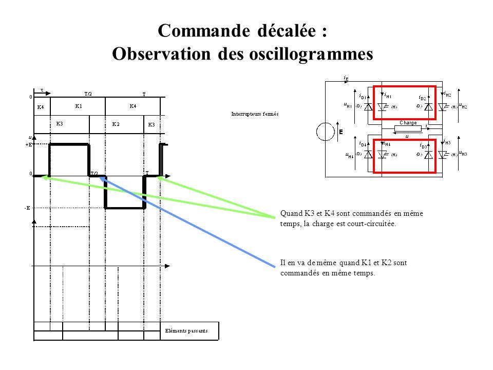 Commande décalée : Observation des oscillogrammes Quand K3 et K4 sont commandés en même temps, la charge est court-circuitée. Il en va de même quand K