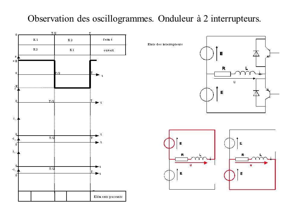 Observation des oscillogrammes. Onduleur à 2 interrupteurs.