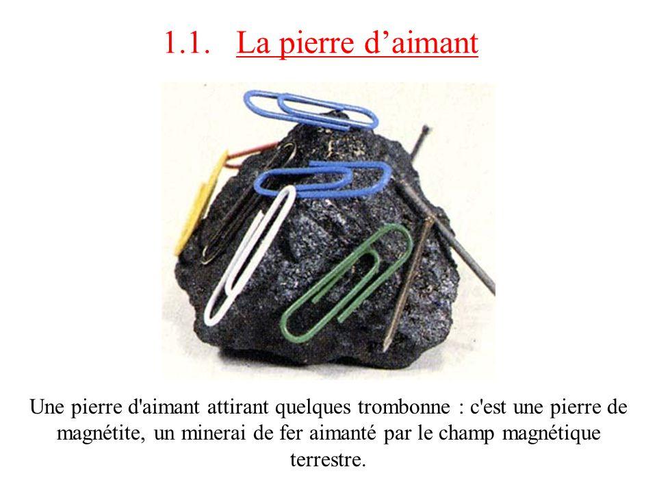 1.1. La pierre daimant Une pierre d'aimant attirant quelques trombonne : c'est une pierre de magnétite, un minerai de fer aimanté par le champ magnéti