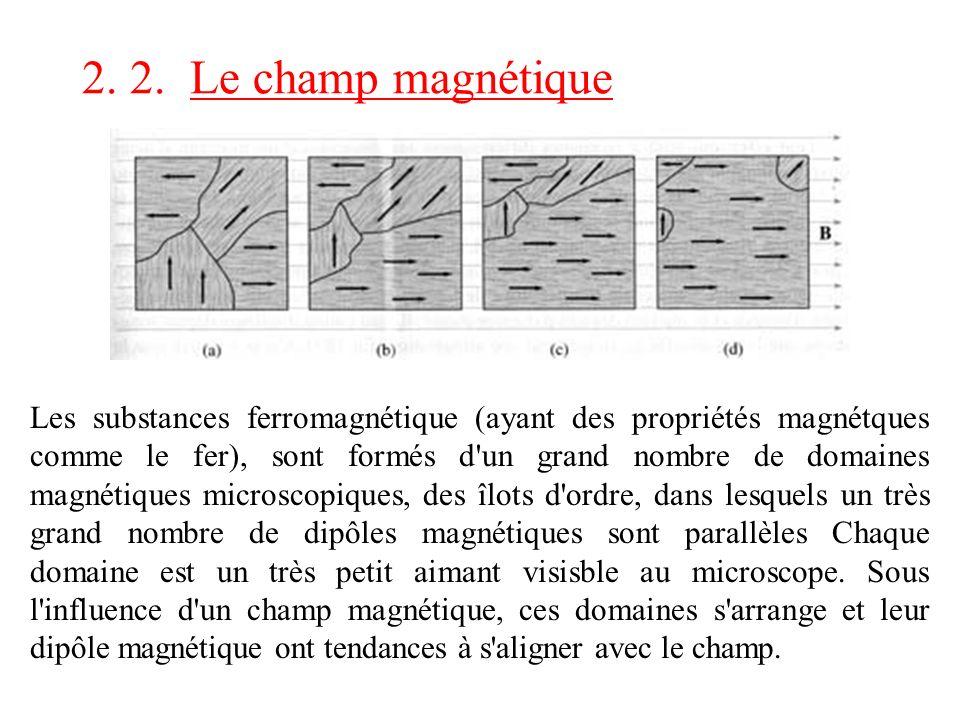 Les substances ferromagnétique (ayant des propriétés magnétques comme le fer), sont formés d'un grand nombre de domaines magnétiques microscopiques, d