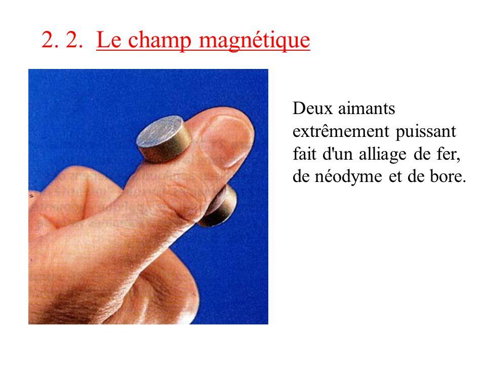 2. 2. Le champ magnétique Deux aimants extrêmement puissant fait d'un alliage de fer, de néodyme et de bore.