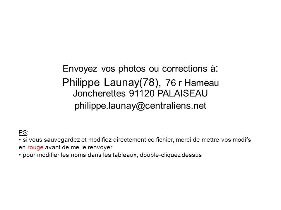 Envoyez vos photos ou corrections à : Philippe Launay(78), 76 r Hameau Joncherettes 91120 PALAISEAU philippe.launay@centraliens.net PS: si vous sauveg