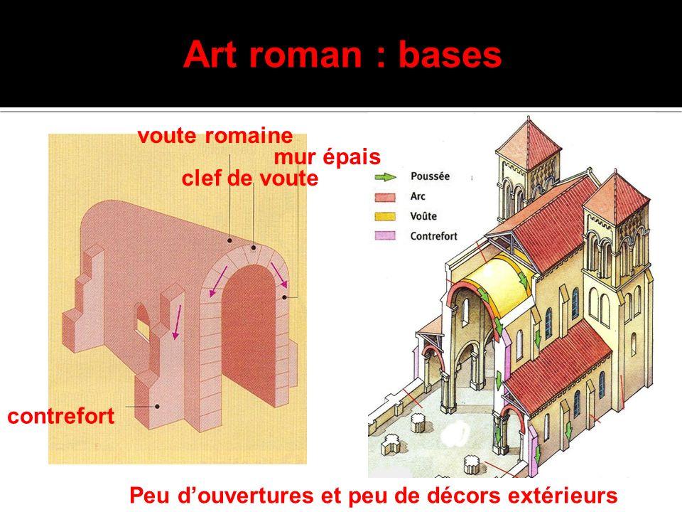 Art roman : bases voute romaine clef de voute mur épais contrefort Peu douvertures et peu de décors extérieurs