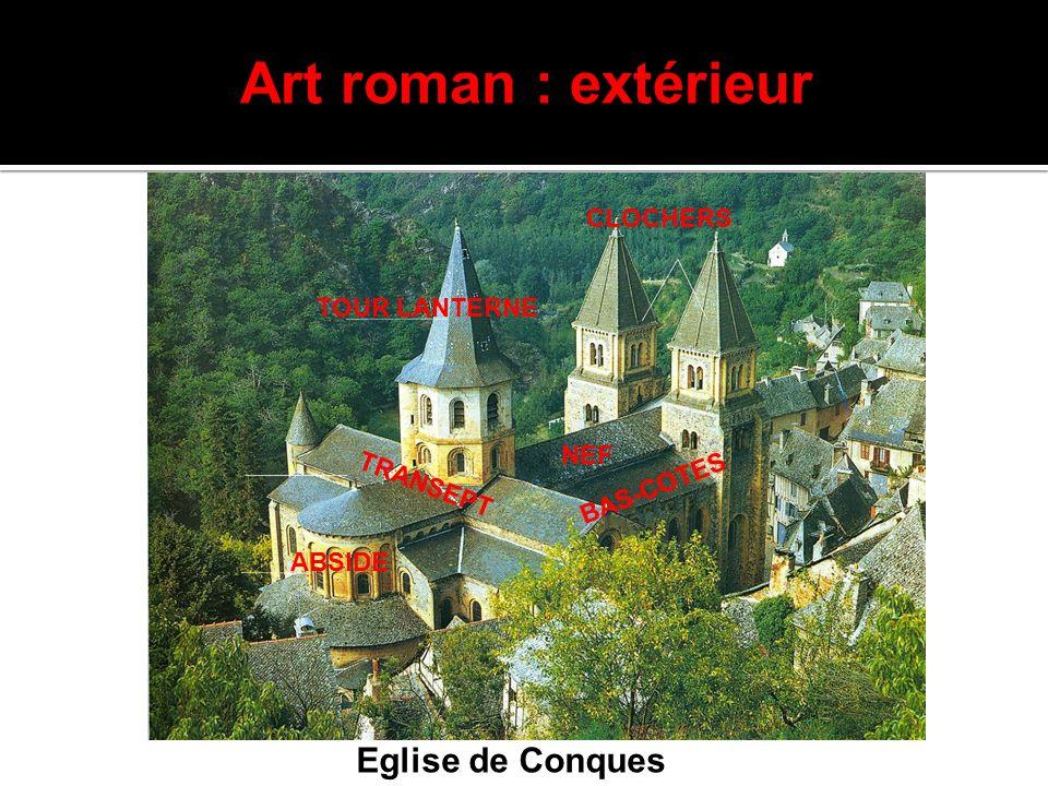 Art roman : extérieur TOUR LANTERNE CLOCHERS ABSIDE T R A N S E P T NEF B A S - C O T E S Eglise de Conques