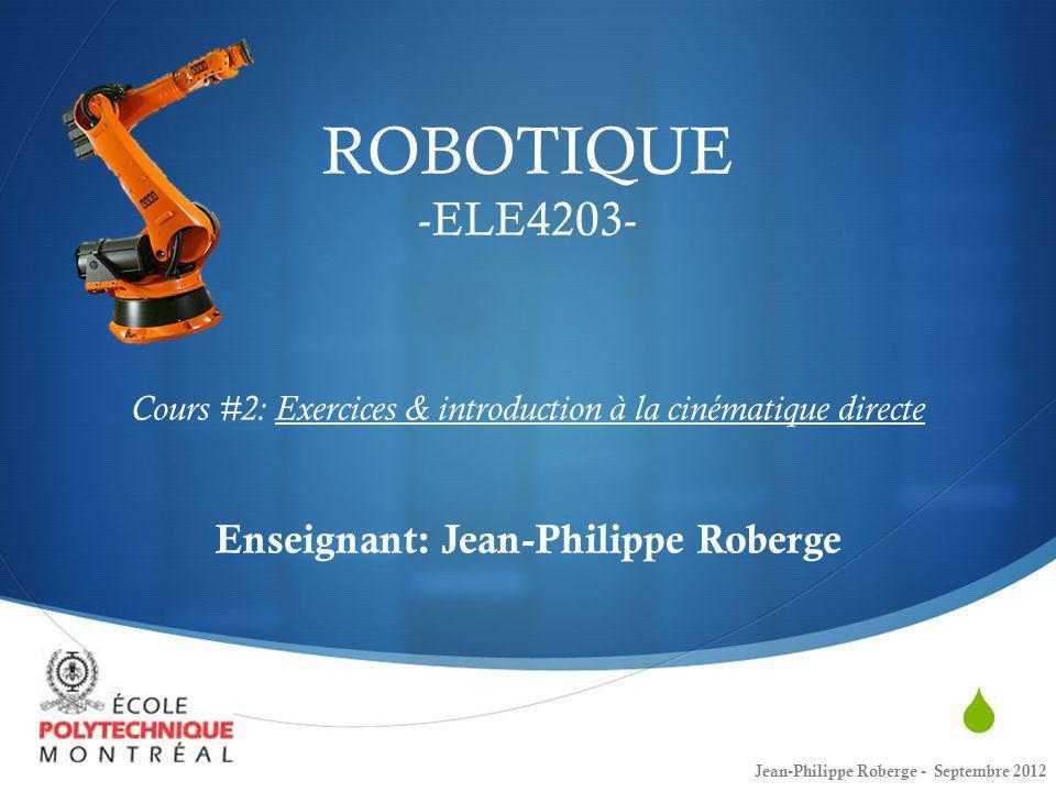 Jean-Philippe Roberge - Août 201242 Cinématique directe (17) Exemple du robot planaire Pour terminer le cours, effectuons la cinématique directe dun robot simple, puisquil sagit dun robot-planaire à trois degrés de liberté: