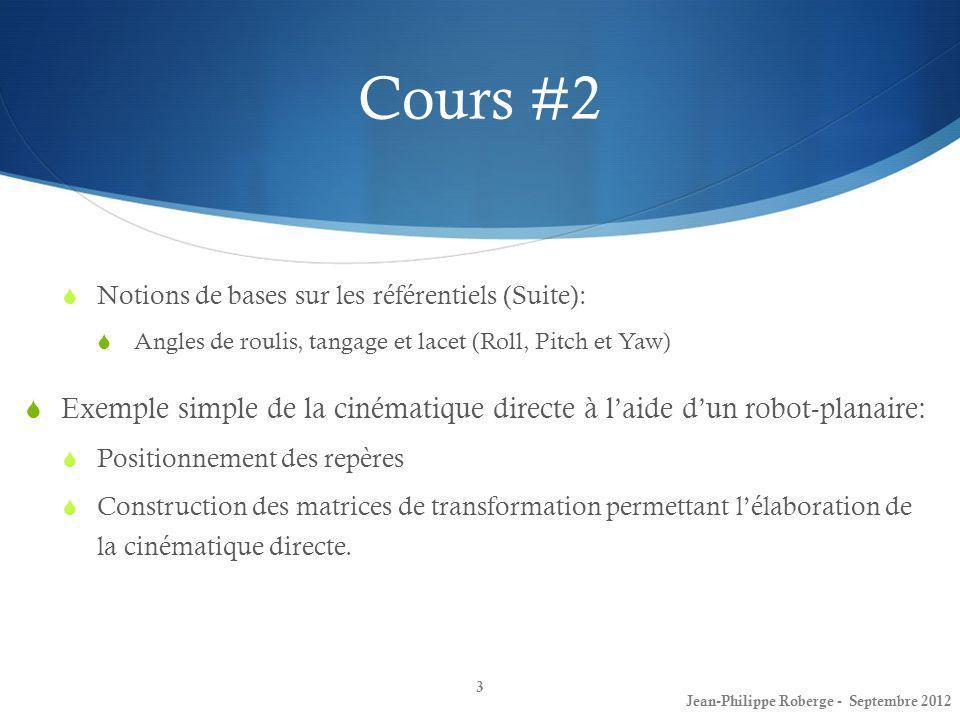 Jean-Philippe Roberge - Août 201234 Rappel sur les coordonnées homogènes: Un vecteur en coordonnée homogène: peut subir une translation et/ou une rotation lorsque pré-multiplié par une matrice de transformation.
