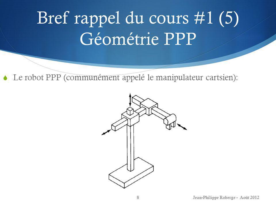 Bref rappel du cours #1 (16) Transformations 3D Comme dans le cas à deux dimensions, on peut développer les matrices (de transformation) de translation et de rotation: Jean-Philippe Roberge - Août 201219 Translation :