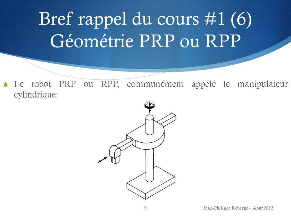 Bref rappel du cours #1 (7) Géométrie RRP Le robot RRP, communément appelé le manipulateur sphérique: Jean-Philippe Roberge - Août 201210