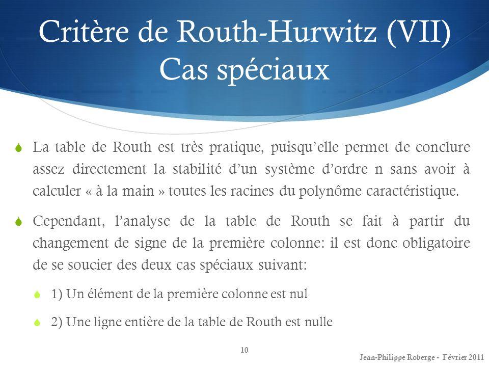 La table de Routh est très pratique, puisquelle permet de conclure assez directement la stabilité dun système dordre n sans avoir à calculer « à la ma