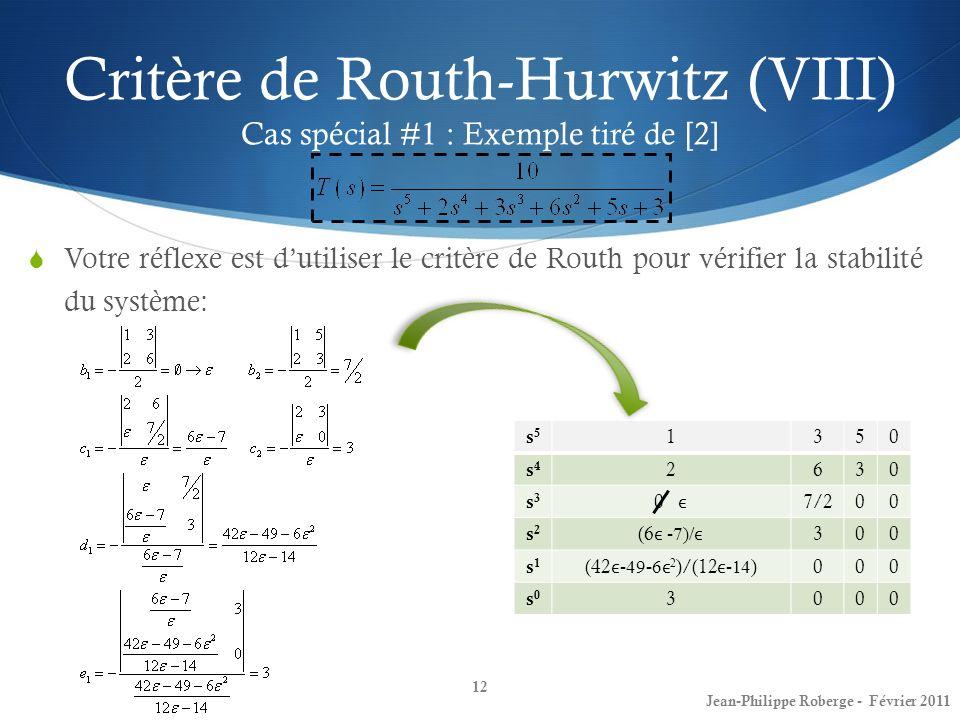 Votre réflexe est dutiliser le critère de Routh pour vérifier la stabilité du système: Critère de Routh-Hurwitz (VIII) Cas spécial #1 : Exemple tiré d