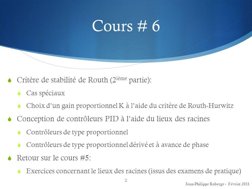Cours # 6 Critère de stabilité de Routh (2 ième partie): Cas spéciaux Choix dun gain proportionnel K à laide du critère de Routh-Hurwitz Conception de