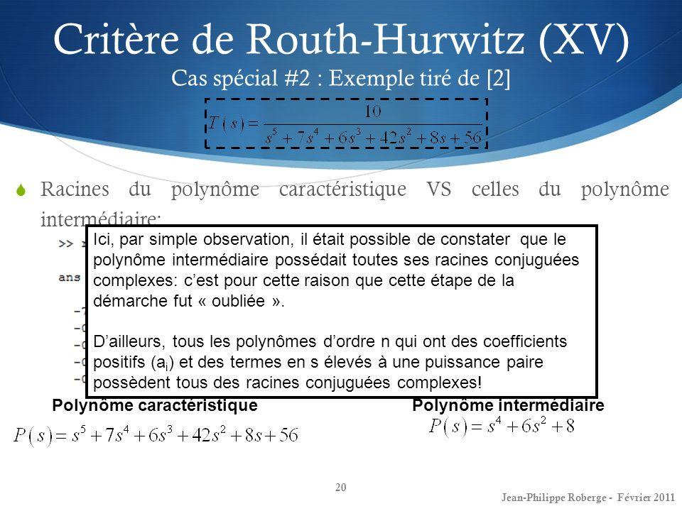 Critère de Routh-Hurwitz (XV) Cas spécial #2 : Exemple tiré de [2] 20 Jean-Philippe Roberge - Février 2011 Racines du polynôme caractéristique VS cell