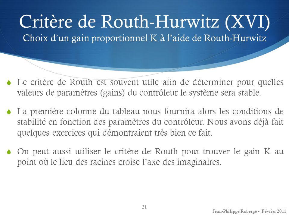 Critère de Routh-Hurwitz (XVI) Choix dun gain proportionnel K à laide de Routh-Hurwitz 21 Jean-Philippe Roberge - Février 2011 Le critère de Routh est