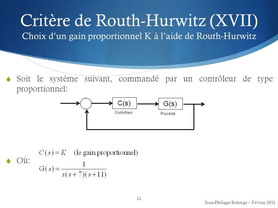 Critère de Routh-Hurwitz (XVII) Choix dun gain proportionnel K à laide de Routh-Hurwitz 22 Jean-Philippe Roberge - Février 2011 Soit le système suivan