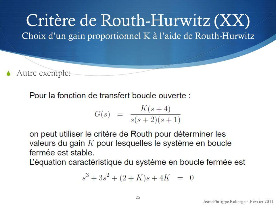 Critère de Routh-Hurwitz (XX) Choix dun gain proportionnel K à laide de Routh-Hurwitz 25 Jean-Philippe Roberge - Février 2011 Autre exemple: