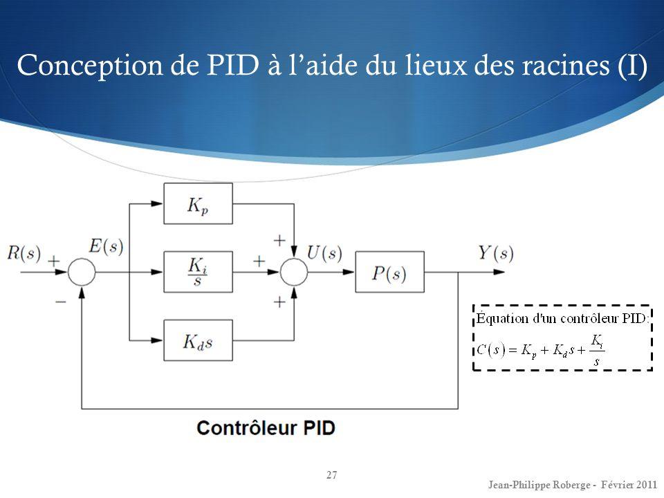 Conception de PID à laide du lieux des racines (I) 27 Jean-Philippe Roberge - Février 2011
