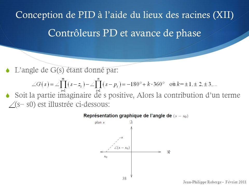 Conception de PID à laide du lieux des racines (XII) Contrôleurs PD et avance de phase 38 Jean-Philippe Roberge - Février 2011 Langle de G(s) étant do