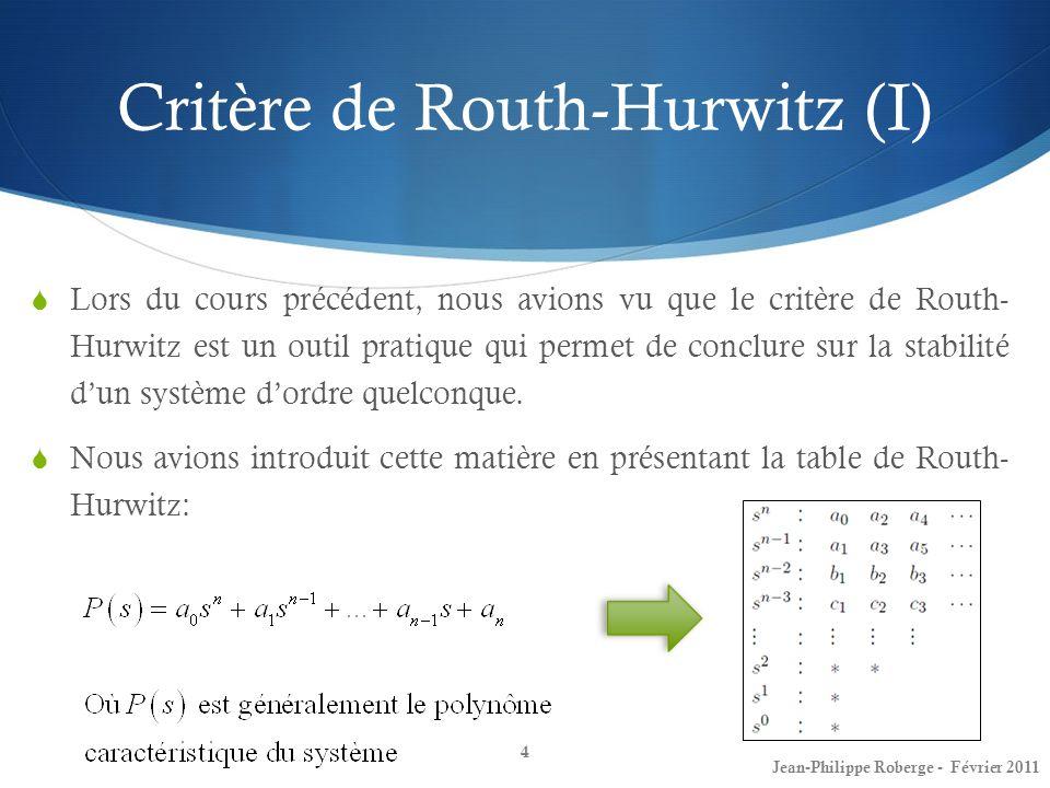 Critère de Routh-Hurwitz (I) Lors du cours précédent, nous avions vu que le critère de Routh- Hurwitz est un outil pratique qui permet de conclure sur