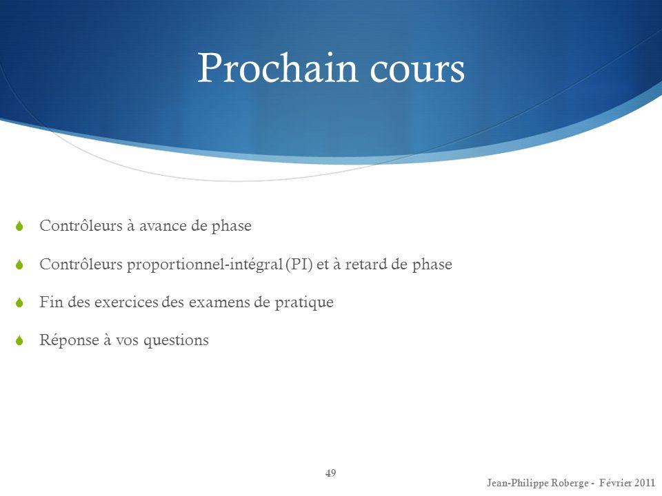 49 Jean-Philippe Roberge - Février 2011 Prochain cours Contrôleurs à avance de phase Contrôleurs proportionnel-intégral (PI) et à retard de phase Fin