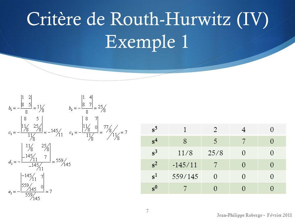 Critère de Routh-Hurwitz (IV) Exemple 1 7 Jean-Philippe Roberge - Février 2011 s5s5 1240 s4s4 8570 s3s3 11/825/800 s2s2 -145/11700 s1s1 559/145000 s0s