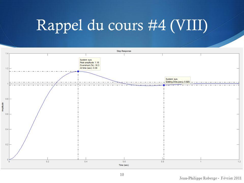 Rappel du cours #4 (VIII) En utilisant les outils tf() et ltiview de MATLAB: 10 Jean-Philippe Roberge - Février 2011