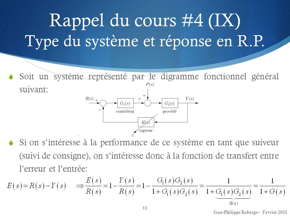 Rappel du cours #4 (IX) Type du système et réponse en R.P. Soit un système représenté par le digramme fonctionnel général suivant: Si on sintéresse à